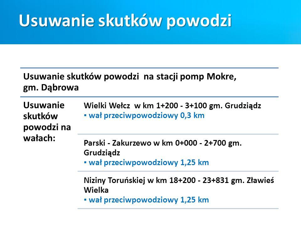 Usuwanie skutków powodzi Usuwanie skutków powodzi na stacji pomp Mokre, gm. Dąbrowa Usuwanie skutków powodzi na wałach: Wielki Wełcz w km 1+200 - 3+10