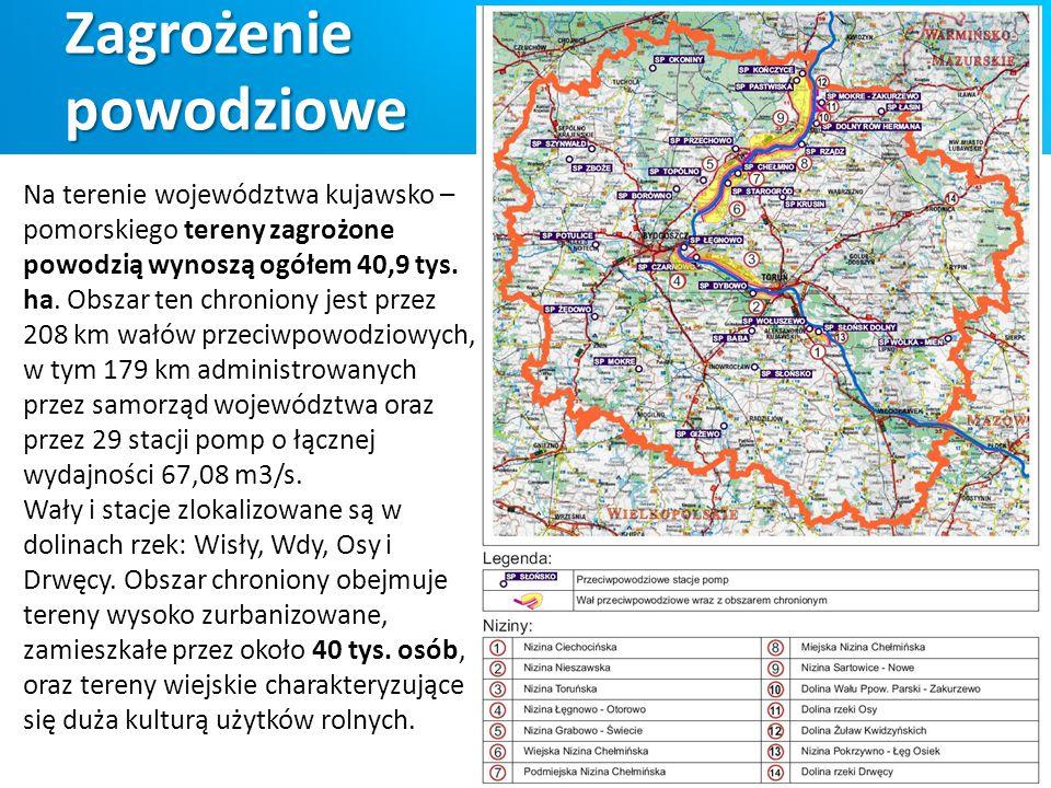 Zagrożenie powodziowe Na terenie województwa kujawsko – pomorskiego tereny zagrożone powodzią wynoszą ogółem 40,9 tys. ha. Obszar ten chroniony jest p