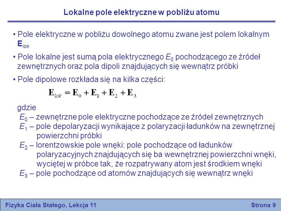 Lokalne pole elektryczne w pobliżu atomu Pole elektryczne w pobliżu dowolnego atomu zwane jest polem lokalnym E lok Pole lokalne jest sumą pola elektr