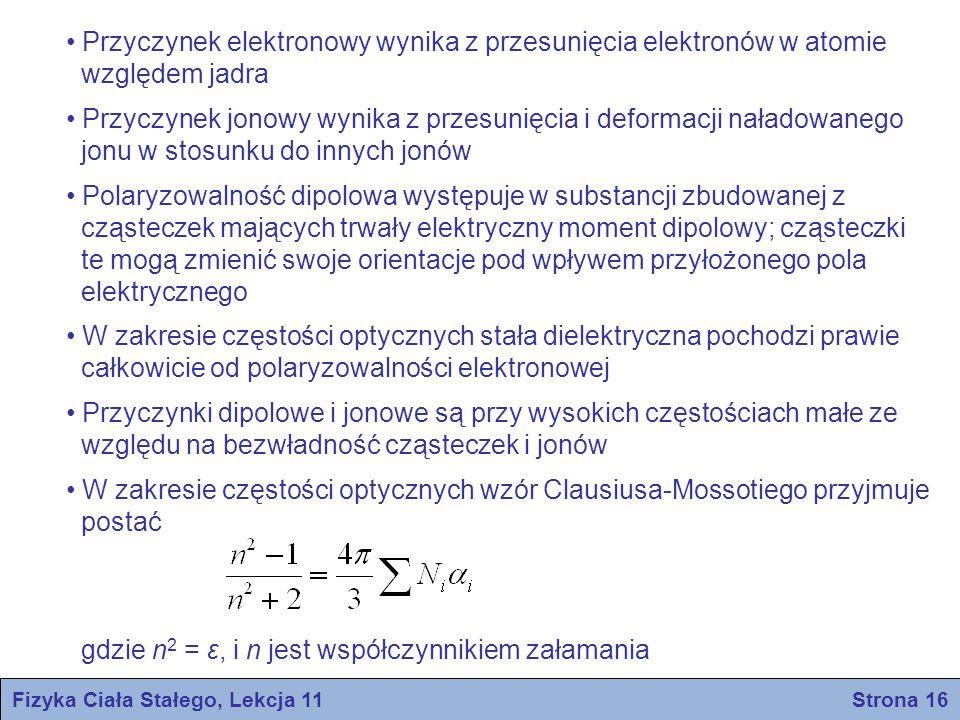 Fizyka Ciała Stałego, Lekcja 11 Strona 16 Przyczynek elektronowy wynika z przesunięcia elektronów w atomie względem jadra Przyczynek jonowy wynika z p