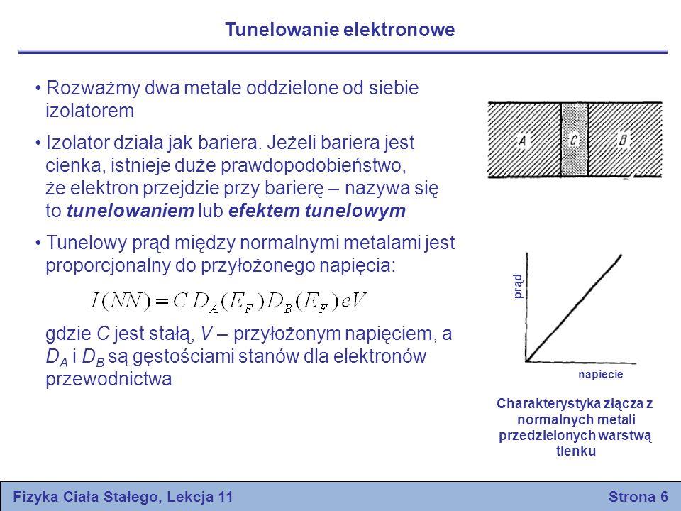energia Fermiego prąd napięcie Fizyka Ciała Stałego, Lekcja 11 Strona 7 Giaever odkrył w 1960 roku, że jeżeli jeden metal staje się nadprzewodniczący, to charakterystyka prądowo-napięcowa zmienia się od linii prostej do krzywej W nadprzewodniku występuje przerwa energetyczna, w której środek stanowi poziom Fermiego W temperaturze T = 0 prąd elektryczny nie popłynie tak długo, aż przyłożone napięcie nie będzie równe V = Δ/e Istnieją także osobliwe zjawiska przy przechodzeniu tunelowym pary nadprzewodących elektronów, zwanym efektem tunelowym Josephsona Gęstości stanów Charakterystyka dla złącza z jednym metalem normalnym, a drugim nadprzewodzącym
