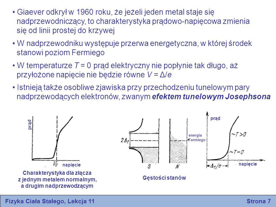 energia Fermiego prąd napięcie Fizyka Ciała Stałego, Lekcja 11 Strona 7 Giaever odkrył w 1960 roku, że jeżeli jeden metal staje się nadprzewodniczący,