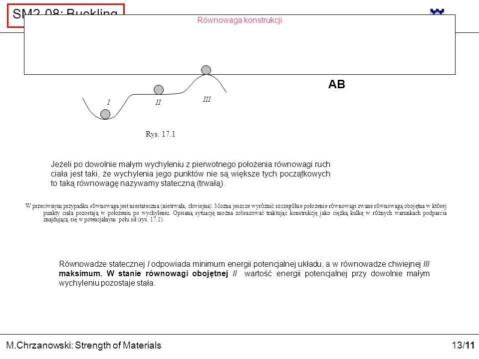 13 /11 M.Chrzanowski: Strength of Materials SM2-08: Buckling Równowaga konstrukcji I III II Rys. 17.1 Jeżeli po dowolnie małym wychyleniu z pierwotneg