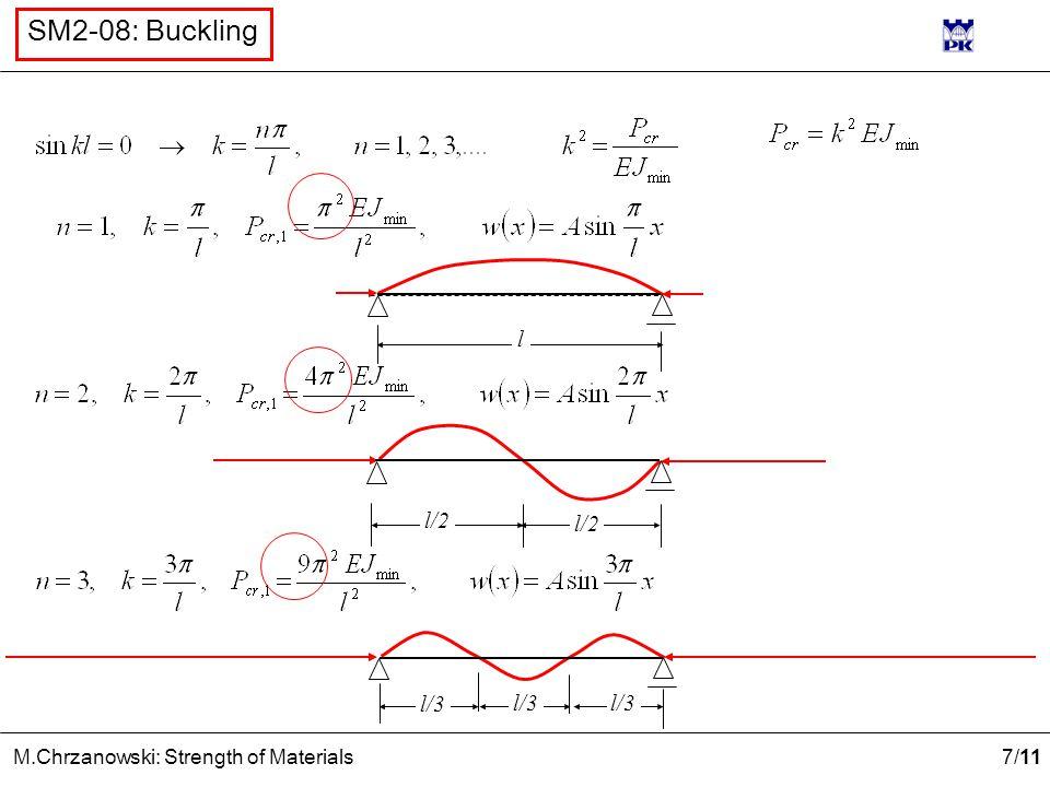 7 /11 M.Chrzanowski: Strength of Materials SM2-08: Buckling l/2 l l/3