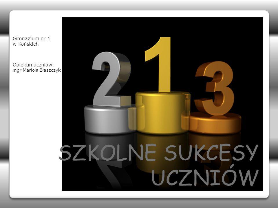 SZKOLNE SUKCESY UCZNIÓW Gimnazjum nr 1 w Końskich Opiekun uczniów: mgr Mariola Błaszczyk