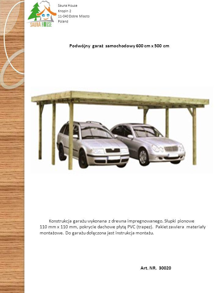 Art. NR. 30010 Garaż samochodowy 300 cm x 500 cm. Konstrukcja garażu wykonana z drewna impregnowanego. Słupki pionowe 90 mm x 90 mm, pokrycie dachowe