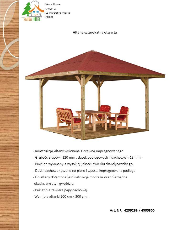 Art. NR. 30020 Podwójny garaż samochodowy 600 cm x 500 cm Konstrukcja garażu wykonana z drewna impregnowanego. Słupki pionowe 110 mm x 110 mm, pokryci