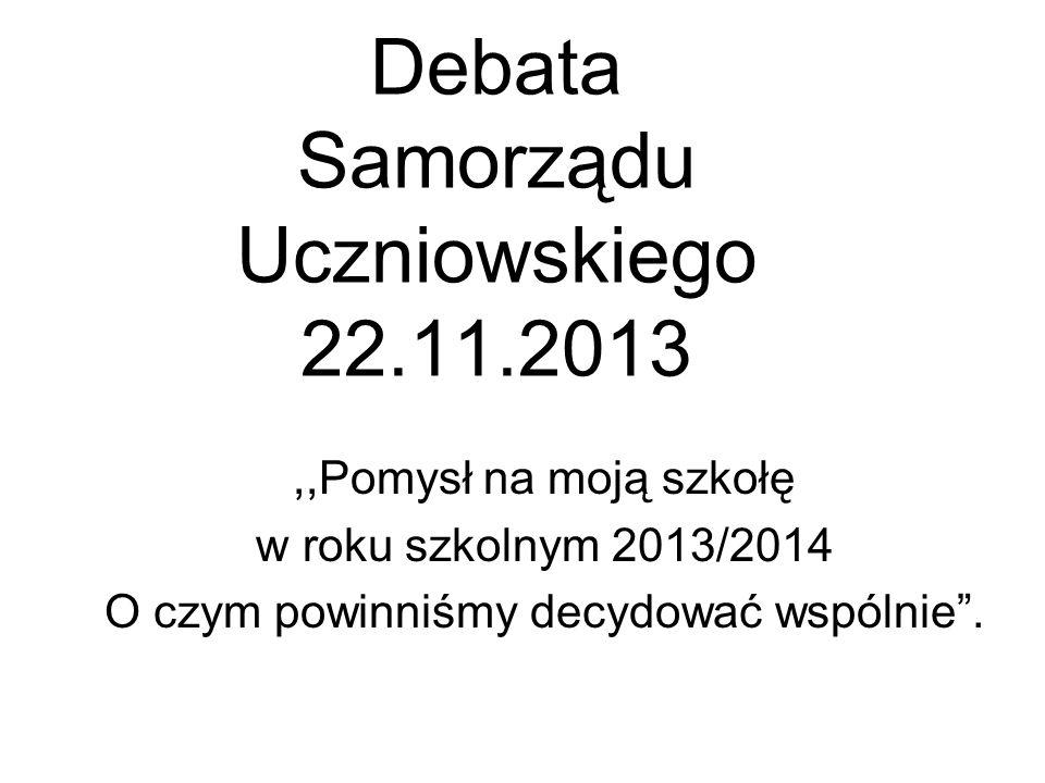 Debata Samorządu Uczniowskiego 22.11.2013,,Pomysł na moją szkołę w roku szkolnym 2013/2014 O czym powinniśmy decydować wspólnie .