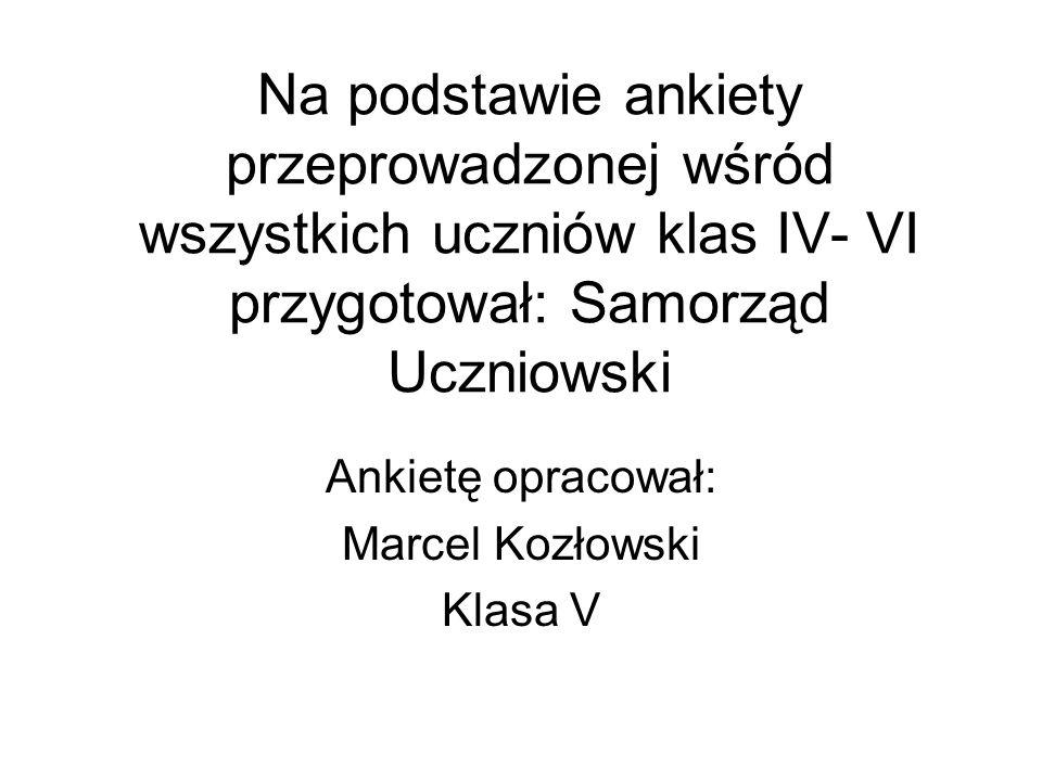 Na podstawie ankiety przeprowadzonej wśród wszystkich uczniów klas IV- VI przygotował: Samorząd Uczniowski Ankietę opracował: Marcel Kozłowski Klasa V