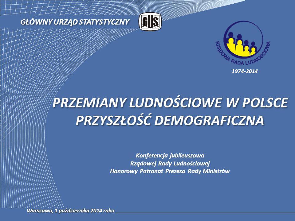 PRZEMIANY LUDNOŚCIOWE W POLSCE PRZYSZŁOŚĆ DEMOGRAFICZNA GŁÓWNY URZĄD STATYSTYCZNY Warszawa, 1 października 2014 roku 1974-2014 Konferencja jubileuszow