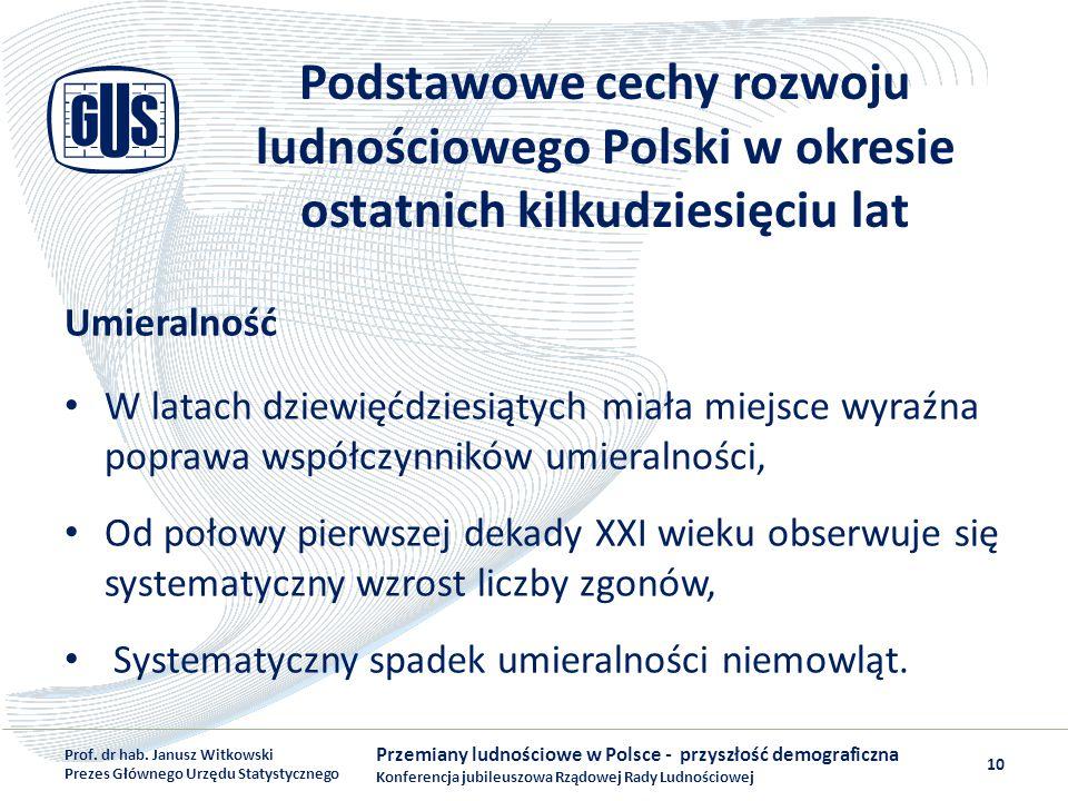 Podstawowe cechy rozwoju ludnościowego Polski w okresie ostatnich kilkudziesięciu lat Umieralność W latach dziewięćdziesiątych miała miejsce wyraźna p