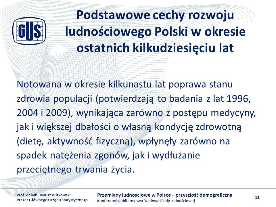 Podstawowe cechy rozwoju ludnościowego Polski w okresie ostatnich kilkudziesięciu lat Notowana w okresie kilkunastu lat poprawa stanu zdrowia populacj