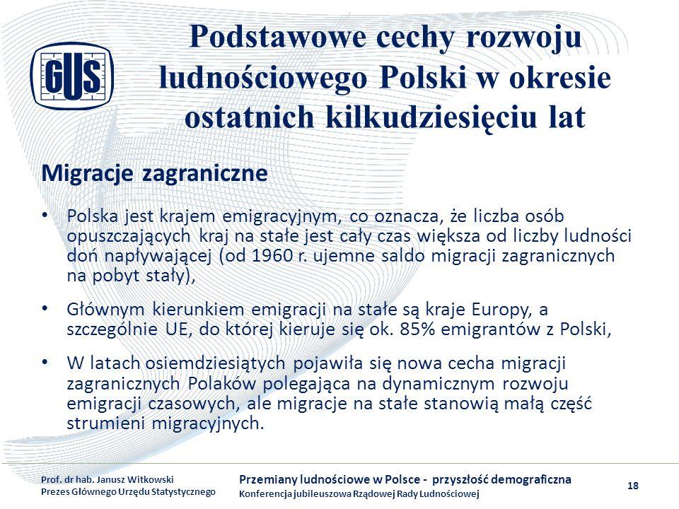 Podstawowe cechy rozwoju ludnościowego Polski w okresie ostatnich kilkudziesięciu lat Migracje zagraniczne Polska jest krajem emigracyjnym, co oznacza