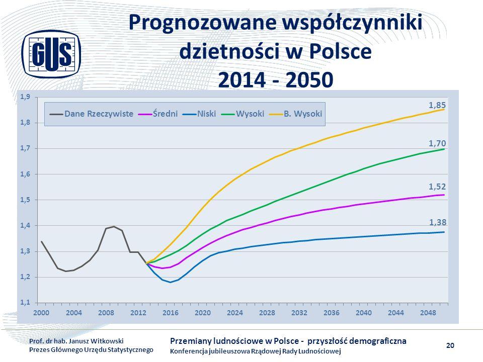 Prognozowane współczynniki dzietności w Polsce 2014 - 2050 Przemiany ludnościowe w Polsce - przyszłość demograficzna Konferencja jubileuszowa Rządowej