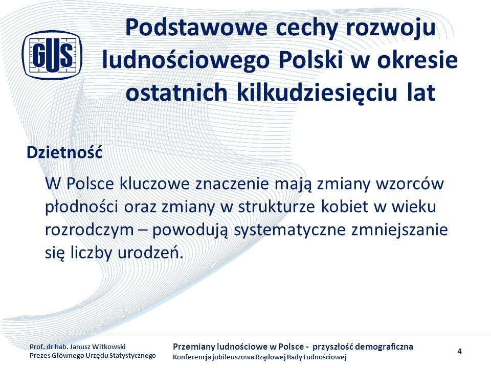 Podstawowe cechy rozwoju ludnościowego Polski w okresie ostatnich kilkudziesięciu lat Dzietność W Polsce kluczowe znaczenie mają zmiany wzorców płodno