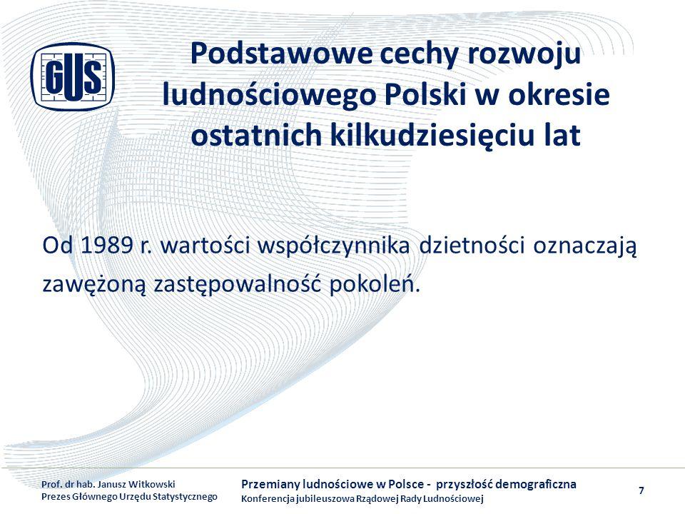 Podstawowe cechy rozwoju ludnościowego Polski w okresie ostatnich kilkudziesięciu lat Od 1989 r. wartości współczynnika dzietności oznaczają zawężoną