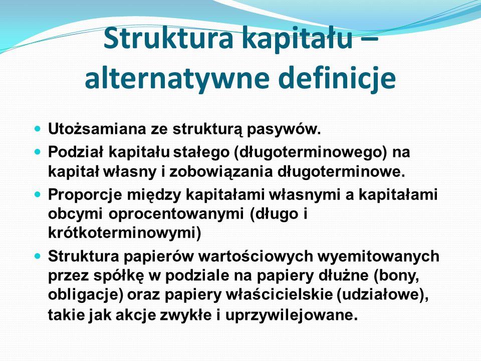 Struktura kapitału – alternatywne definicje Utożsamiana ze strukturą pasywów. Podział kapitału stałego (długoterminowego) na kapitał własny i zobowiąz