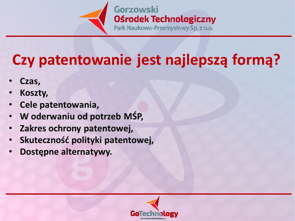 Czas, Koszty, Cele patentowania, W oderwaniu od potrzeb MŚP, Zakres ochrony patentowej, Skuteczność polityki patentowej, Dostępne alternatywy. Czy pat
