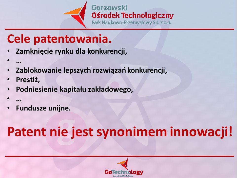 Cele patentowania. Zamknięcie rynku dla konkurencji, … Zablokowanie lepszych rozwiązań konkurencji, Prestiż, Podniesienie kapitału zakładowego, … Fund