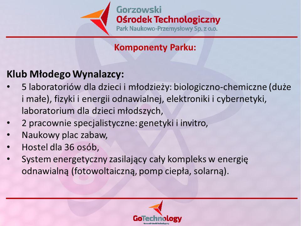 Klub Młodego Wynalazcy: 5 laboratoriów dla dzieci i młodzieży: biologiczno-chemiczne (duże i małe), fizyki i energii odnawialnej, elektroniki i cybernetyki, laboratorium dla dzieci młodszych, 2 pracownie specjalistyczne: genetyki i invitro, Naukowy plac zabaw, Hostel dla 36 osób, System energetyczny zasilający cały kompleks w energię odnawialną (fotowoltaiczną, pomp ciepła, solarną).