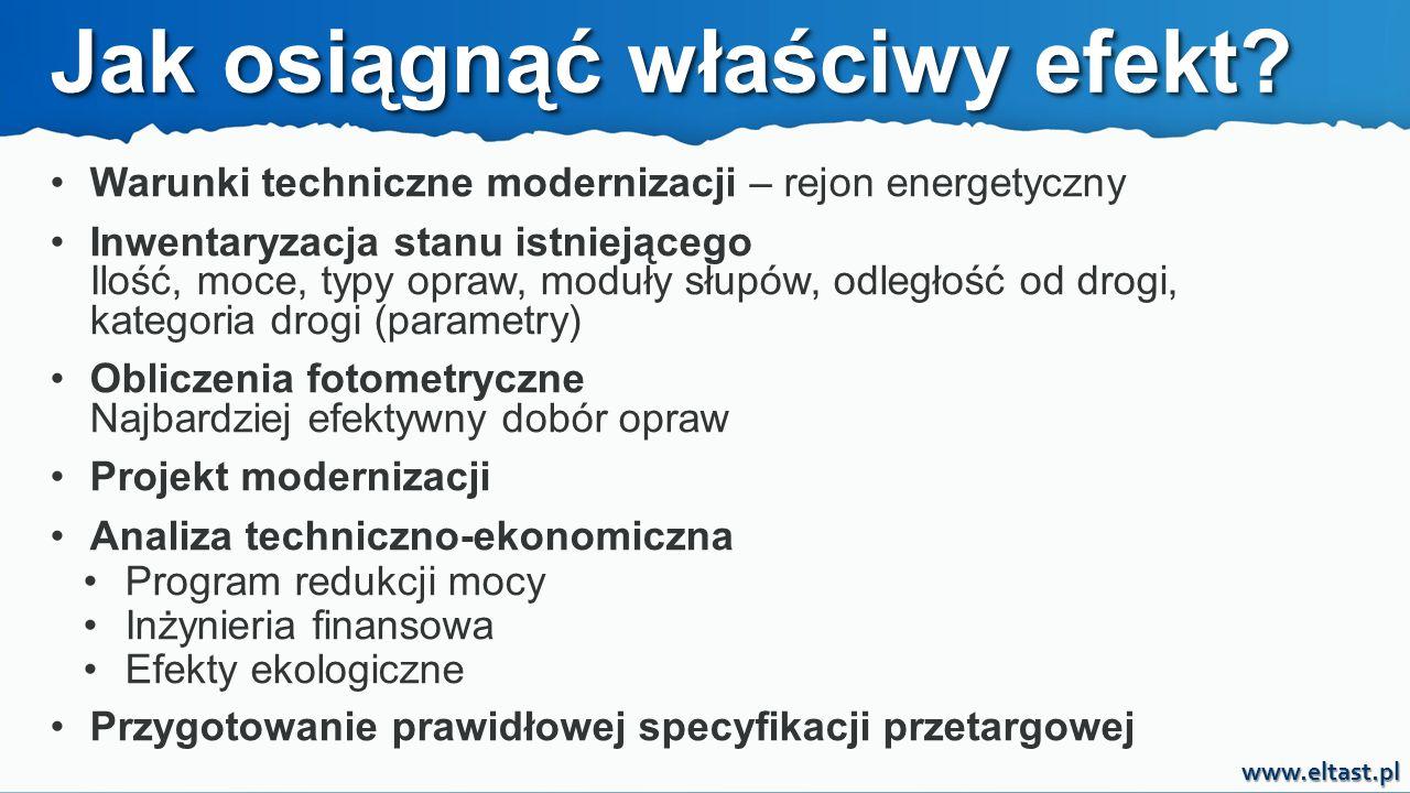 www.eltast.pl Warunki techniczne modernizacji – rejon energetyczny Inwentaryzacja stanu istniejącego Ilość, moce, typy opraw, moduły słupów, odległość