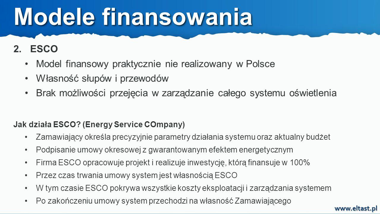 www.eltast.pl 2. ESCO Model finansowy praktycznie nie realizowany w Polsce Własność słupów i przewodów Brak możliwości przejęcia w zarządzanie całego
