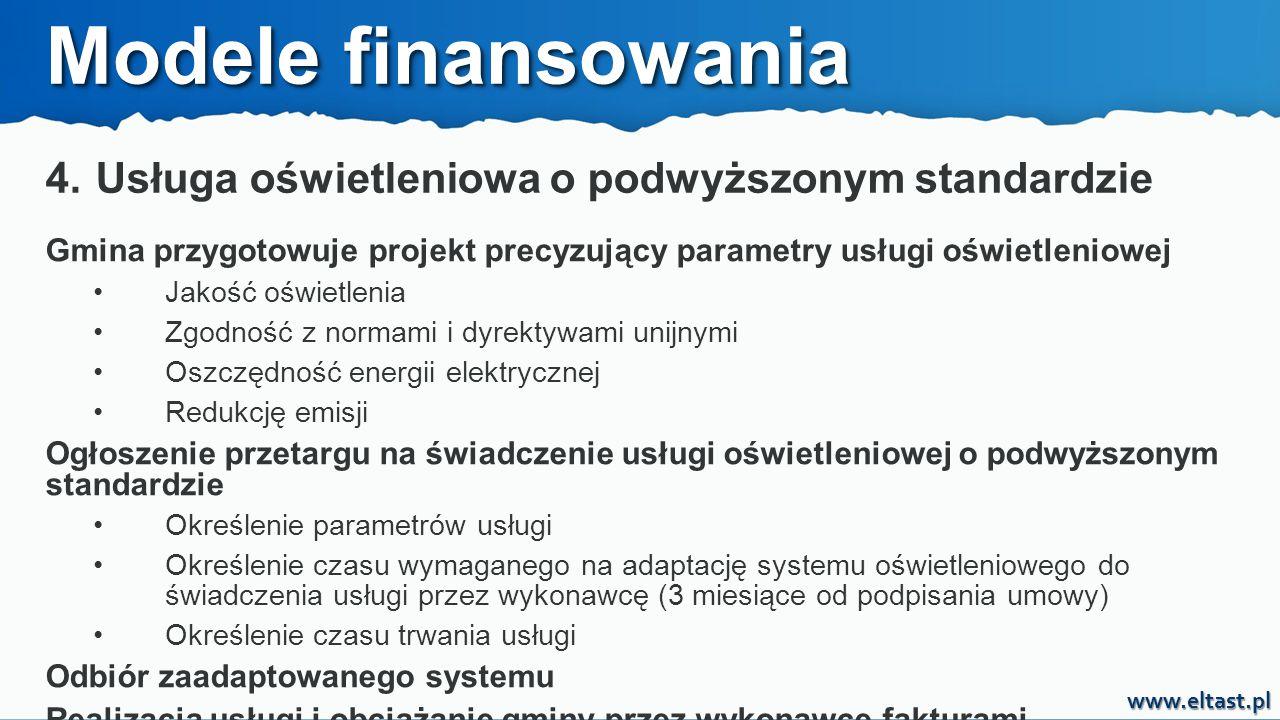 www.eltast.pl 4. Usługa oświetleniowa o podwyższonym standardzie Modele finansowania Gmina przygotowuje projekt precyzujący parametry usługi oświetlen