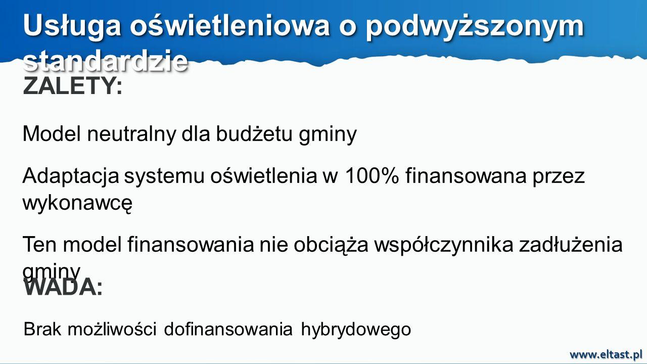 www.eltast.pl Usługa oświetleniowa o podwyższonym standardzie ZALETY: Model neutralny dla budżetu gminy Adaptacja systemu oświetlenia w 100% finansowa