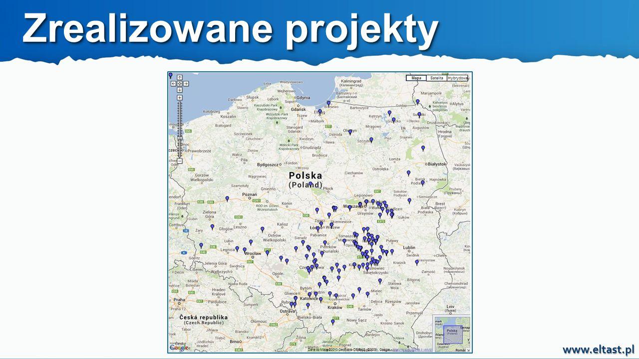 www.eltast.pl 200 000 wymienionych opraw 150 zmodernizowanych gmin 100 projektów zrealizowanych w systemie finansowania przez trzecią stronę ze spłatą z oszczędności w opłatach za energię elektryczną Zrealizowane projekty