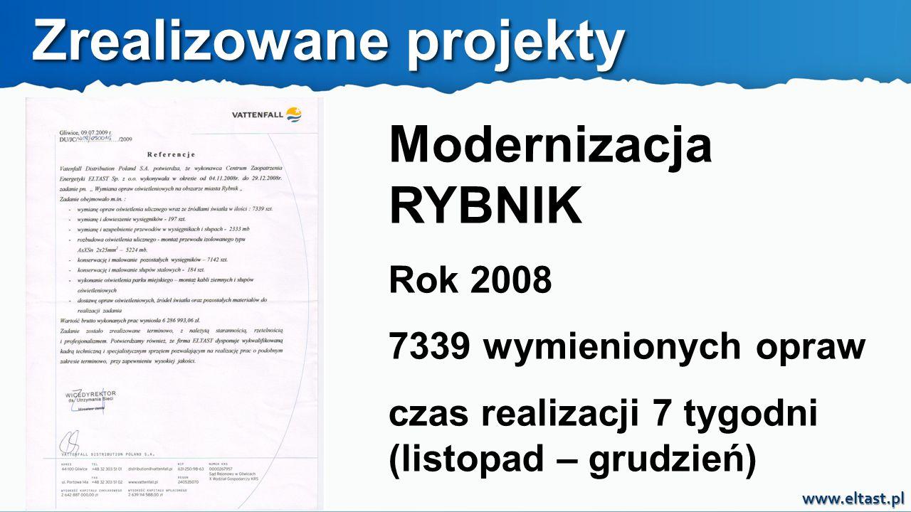 www.eltast.pl Modernizacja CZĘSTOCHOWA Rok 2012 6051 wymienionych opraw czas realizacji 7 tygodni (listopad – grudzień) Zrealizowane projekty