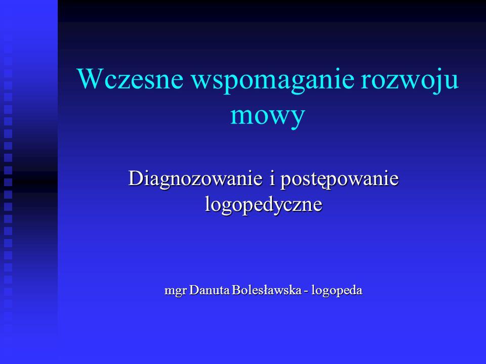 Wczesne wspomaganie rozwoju mowy Diagnozowanie i postępowanie logopedyczne mgr Danuta Bolesławska - logopeda