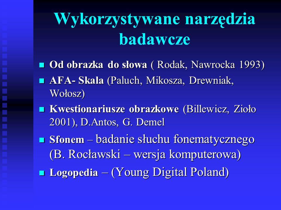 Wykorzystywane narzędzia badawcze Od obrazka do słowa ( Rodak, Nawrocka 1993) Od obrazka do słowa ( Rodak, Nawrocka 1993) AFA- Skala (Paluch, Mikosza,