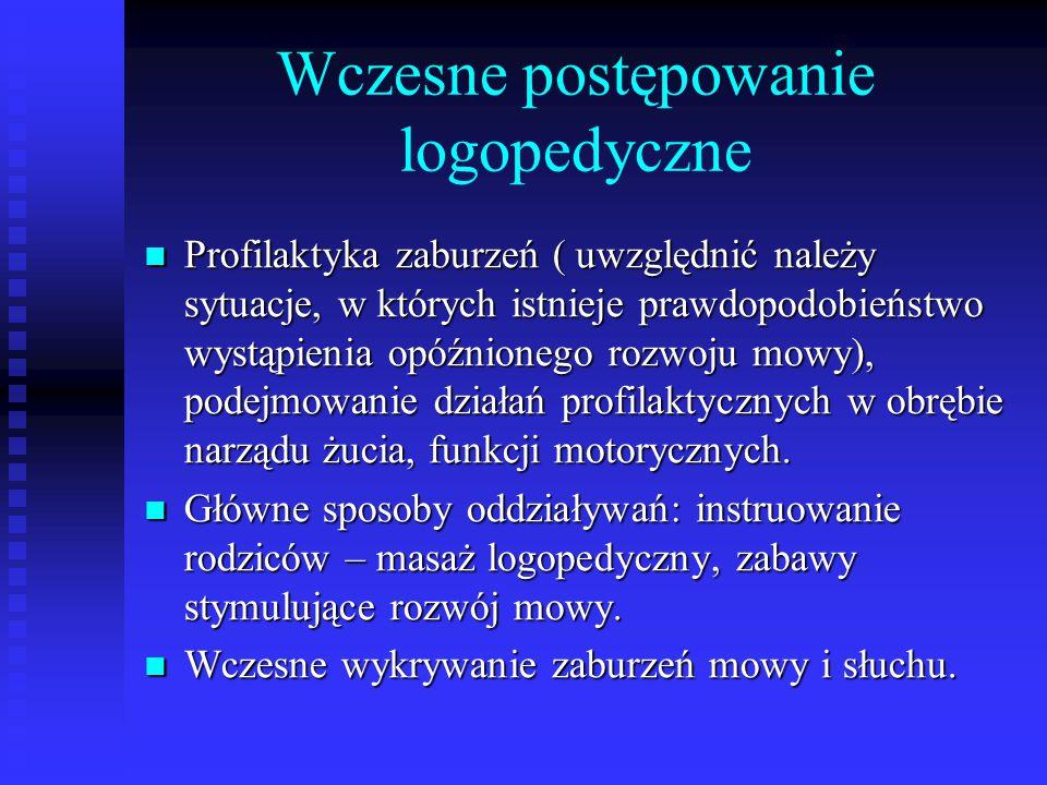 Wczesne postępowanie logopedyczne Profilaktyka zaburzeń ( uwzględnić należy sytuacje, w których istnieje prawdopodobieństwo wystąpienia opóźnionego ro