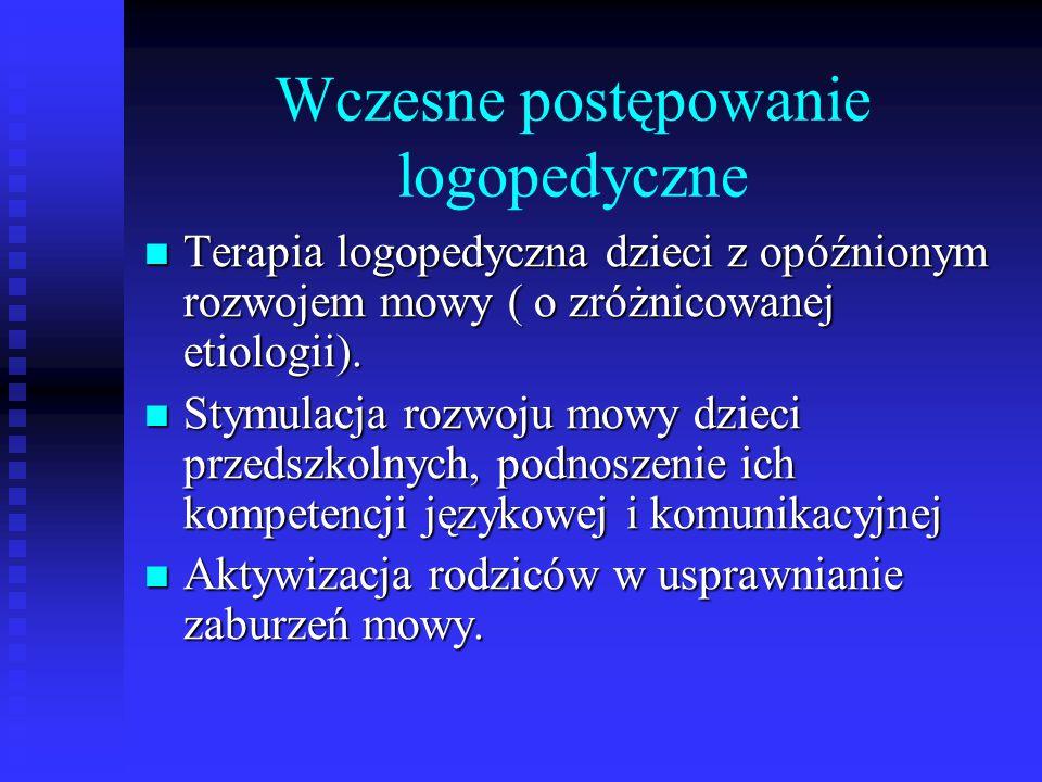 Wczesne postępowanie logopedyczne Terapia logopedyczna dzieci z opóźnionym rozwojem mowy ( o zróżnicowanej etiologii). Terapia logopedyczna dzieci z o