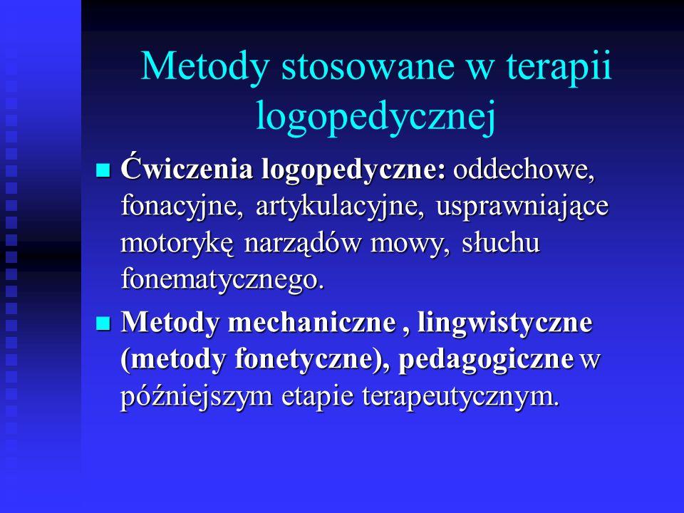 Metody stosowane w terapii logopedycznej Ćwiczenia logopedyczne: oddechowe, fonacyjne, artykulacyjne, usprawniające motorykę narządów mowy, słuchu fon