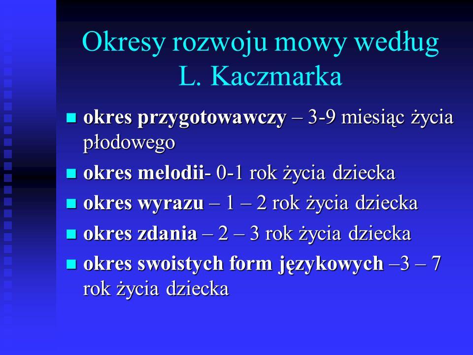 Okresy rozwoju mowy według L. Kaczmarka okres przygotowawczy – 3-9 miesiąc życia płodowego okres przygotowawczy – 3-9 miesiąc życia płodowego okres me