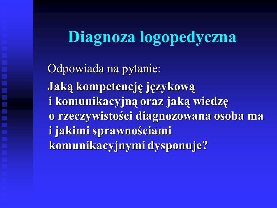 Diagnoza logopedyczna Odpowiada na pytanie: Odpowiada na pytanie: Jaką kompetencję językową i komunikacyjną oraz jaką wiedzę o rzeczywistości diagnozo