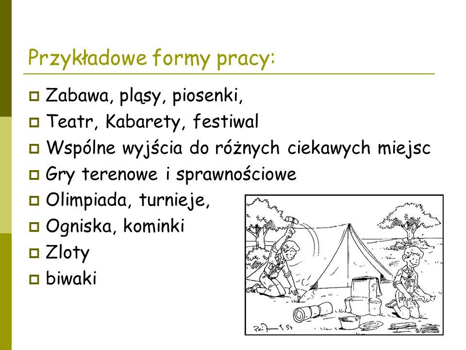 Przykładowe formy pracy:  Zabawa, pląsy, piosenki,  Teatr, Kabarety, festiwal  Wspólne wyjścia do różnych ciekawych miejsc  Gry terenowe i sprawno