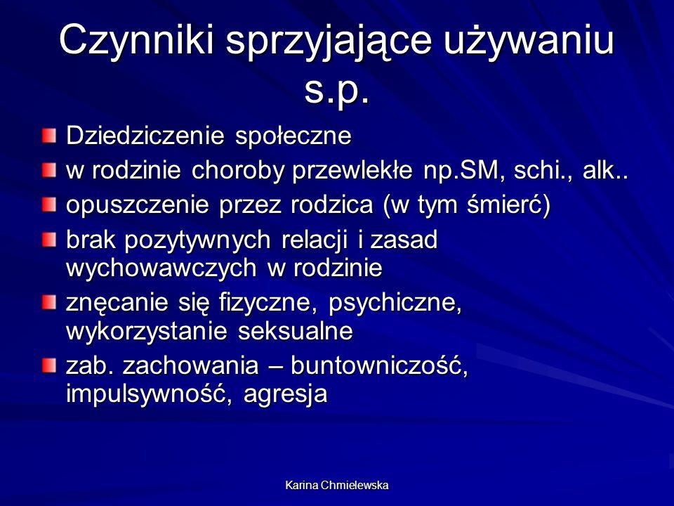 Karina Chmielewska Czynniki sprzyjające używaniu s.p. Dziedziczenie społeczne w rodzinie choroby przewlekłe np.SM, schi., alk.. opuszczenie przez rodz