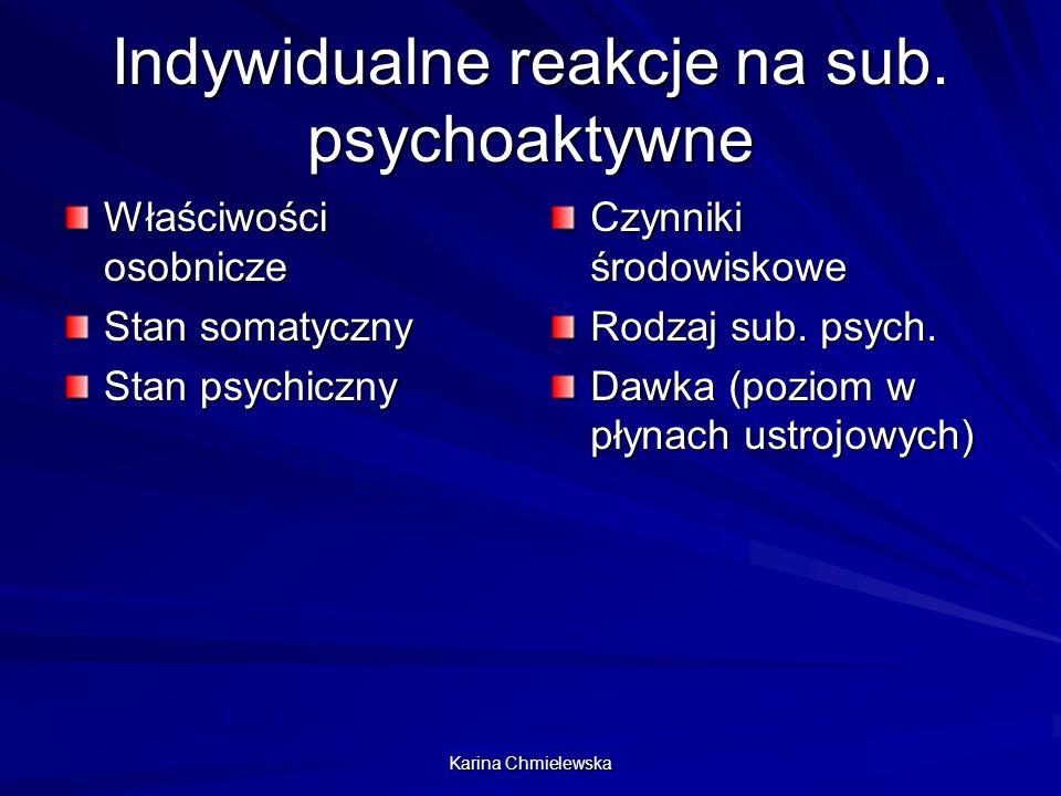 Karina Chmielewska Indywidualne reakcje na sub. psychoaktywne Właściwości osobnicze Stan somatyczny Stan psychiczny Czynniki środowiskowe Rodzaj sub.