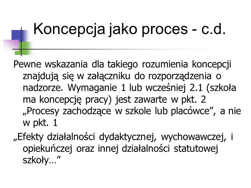 Koncepcja jako proces - c.d. Pewne wskazania dla takiego rozumienia koncepcji znajdują się w załączniku do rozporządzenia o nadzorze. Wymaganie 1 lub