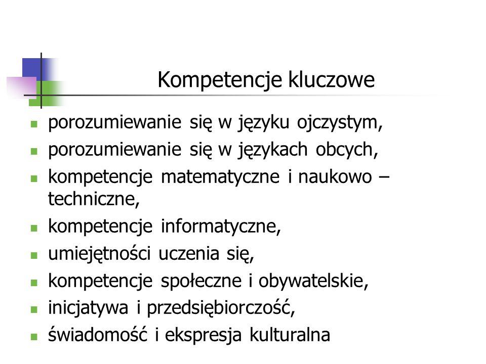 Kompetencje kluczowe porozumiewanie się w języku ojczystym, porozumiewanie się w językach obcych, kompetencje matematyczne i naukowo – techniczne, kom
