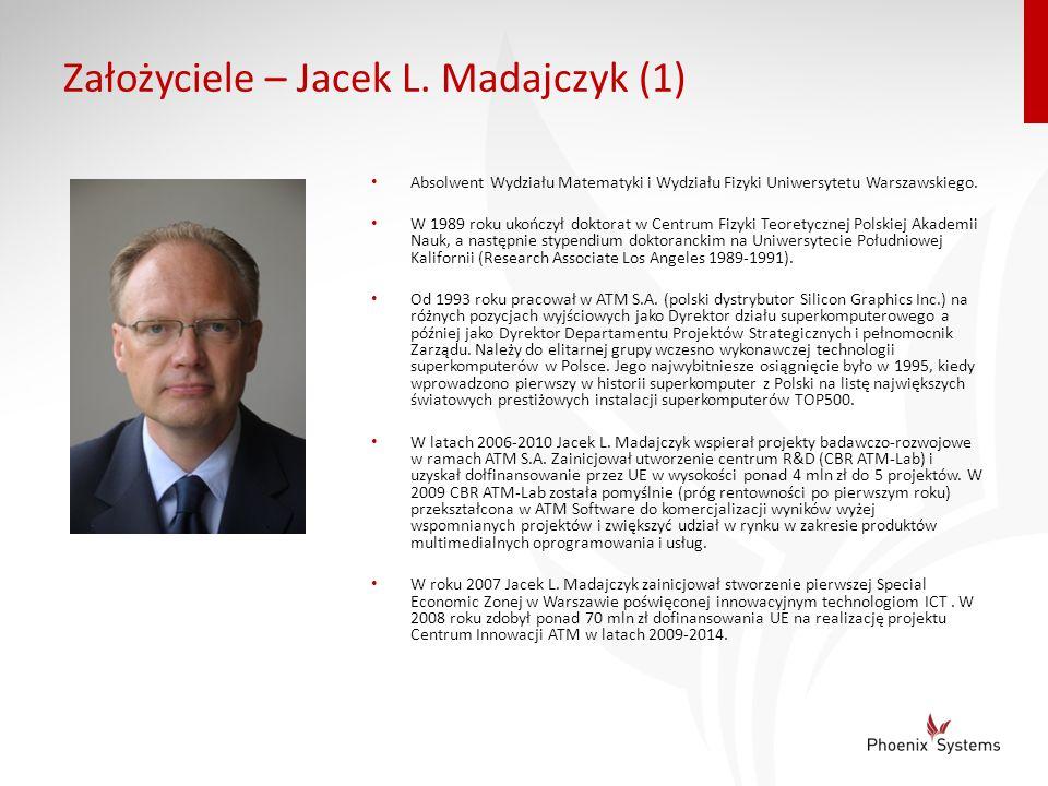Założyciele – Jacek L. Madajczyk (1) Absolwent Wydziału Matematyki i Wydziału Fizyki Uniwersytetu Warszawskiego. W 1989 roku ukończył doktorat w Centr