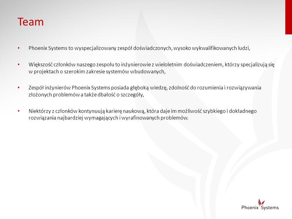 Team Phoenix Systems to wyspecjalizowany zespół doświadczonych, wysoko wykwalifikowanych ludzi, Większość członków naszego zespołu to inżynierowie z w