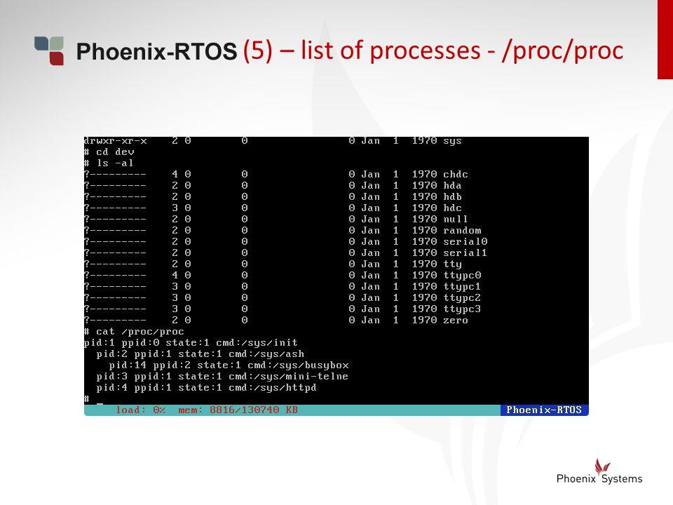 (5) – list of processes - /proc/proc