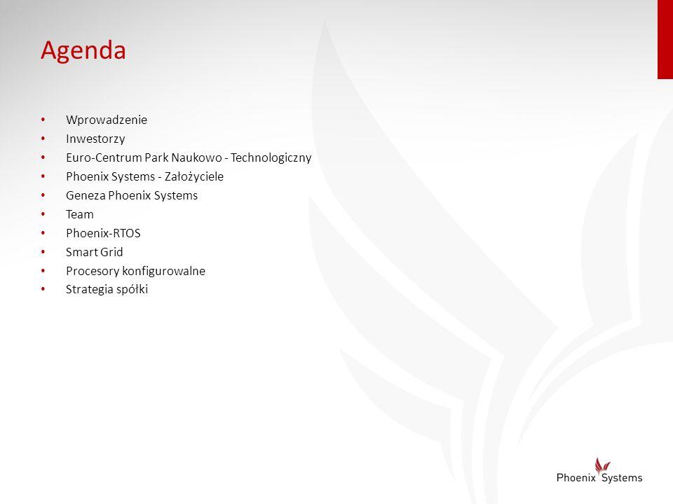 Agenda Wprowadzenie Inwestorzy Euro-Centrum Park Naukowo - Technologiczny Phoenix Systems - Założyciele Geneza Phoenix Systems Team Phoenix-RTOS Smart