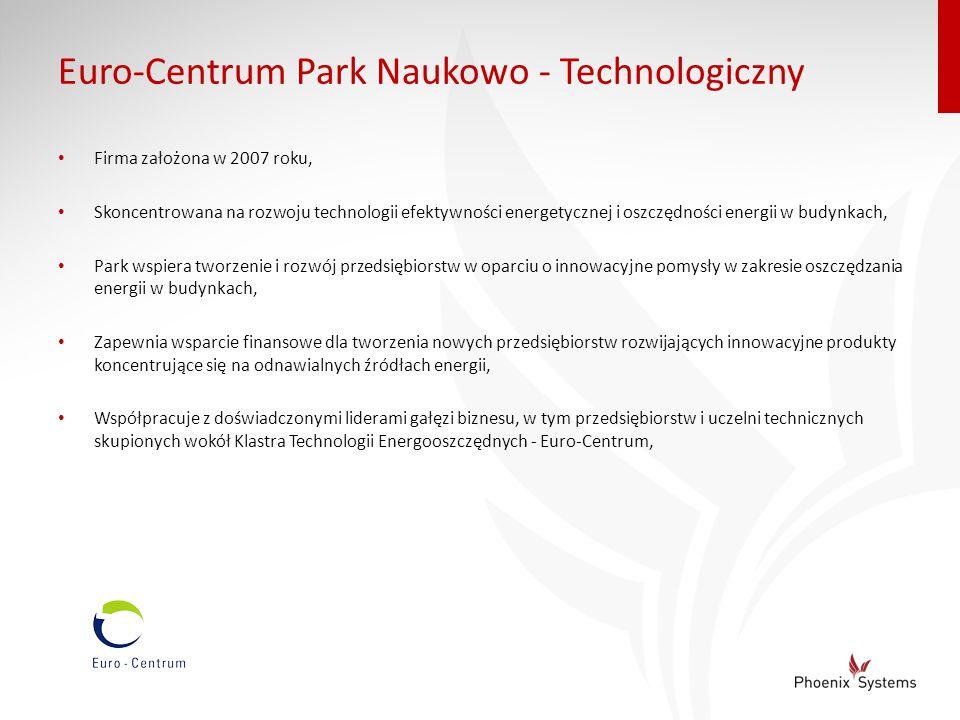 Euro-Centrum Park Naukowo - Technologiczny Firma założona w 2007 roku, Skoncentrowana na rozwoju technologii efektywności energetycznej i oszczędności