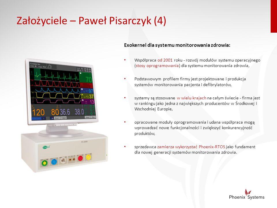 Założyciele – Paweł Pisarczyk (4) Exokernel dla systemu monitorowania zdrowia: Współpraca od 2001 roku - rozwój modułów systemu operacyjnego (stosy op