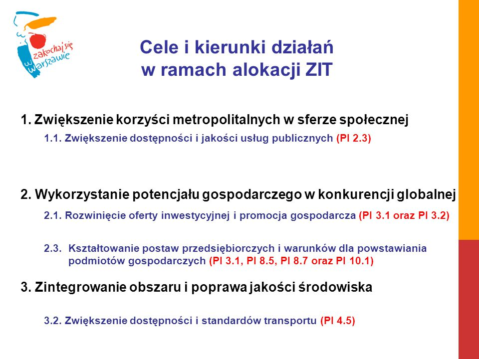 CEL 1 Kierunek działań 1.1 Wirtualny Warszawski Obszar Funkcjonalny (Virtual WOF) 8,5 mln EUR Dostęp do informacji publicznej Warszawskiego Obszaru Funkcjonalnego (E-Archiwum) 2,9 mln EUR Budowa i wdrożenie zintegrowanego systemu wsparcia usług opiekuńczych opartego na narzędziach TIK na terenie Warszawskiego Obszaru Funkcjonalnego (E-Opieka) 6,4 mln EUR Zintegrowane zarządzanie zasobami wiedzy Warszawskiego Obszaru Funkcjonalnego (E-Biblioteka) Zintegrowany system rekrutacji do gminnych placówek oświatowych Warszawskiego Obszaru Funkcjonalnego (E-Rekrutacja) CEL 2 Kierunek działań 2.1 Promocja gospodarcza Warszawskiego Obszaru Funkcjonalnego (WOF Expo) 5,7 mln EUR Budowa oferty terenów inwestycyjnych Warszawskiego Obszaru Funkcjonalnego (Invest in WOF) 25,5 mln EUR Kierunek działań 2.3 Stworzenie sieci Centrów Przedsiębiorczości Warszawskiego Obszaru Funkcjonalnego (StartBox) 9,5 mln EUR Wspieranie zakładania działalności gospodarczej na terenie Warszawskiego Obszaru Funkcjonalnego (BizStarter) 10,2 mln EUR Wspieranie zakładania i rozwoju działalności gospodarczej na terenie Warszawskiego Obszaru Funkcjonalnego (BizInfo) 4,0 mln EUR Program edukacji proprzedsiębiorczej dla Warszawskiego Obszaru Funkcjonalnego (SmartEdu) 9,5 mln EUR CEL 3 Kierunek działań 3.2 Stworzenie sieci tras rowerowych na terenie Warszawskiego Obszaru Funkcjonalnego (WOF4Bikes) 50,5 mln EUR Stworzenie sieci parkingów P+R na terenie Warszawskiego Obszaru Funkcjonalnego (P+R in WOF) 33,1 mln EUR 17,8 mln EUR 64,4 mln EUR 83,6 mln EUR
