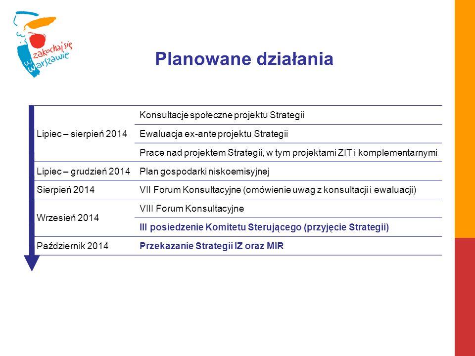 Planowane działania Lipiec – sierpień 2014 Konsultacje społeczne projektu Strategii Ewaluacja ex-ante projektu Strategii Prace nad projektem Strategii